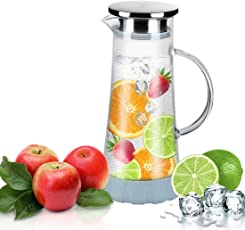 Glass Pitcher, BOQO Water Pitcher With Lid for Juice & Coffee, Hot/Cold Tea Pitcher 50 oz with Particular Coaster and Brush