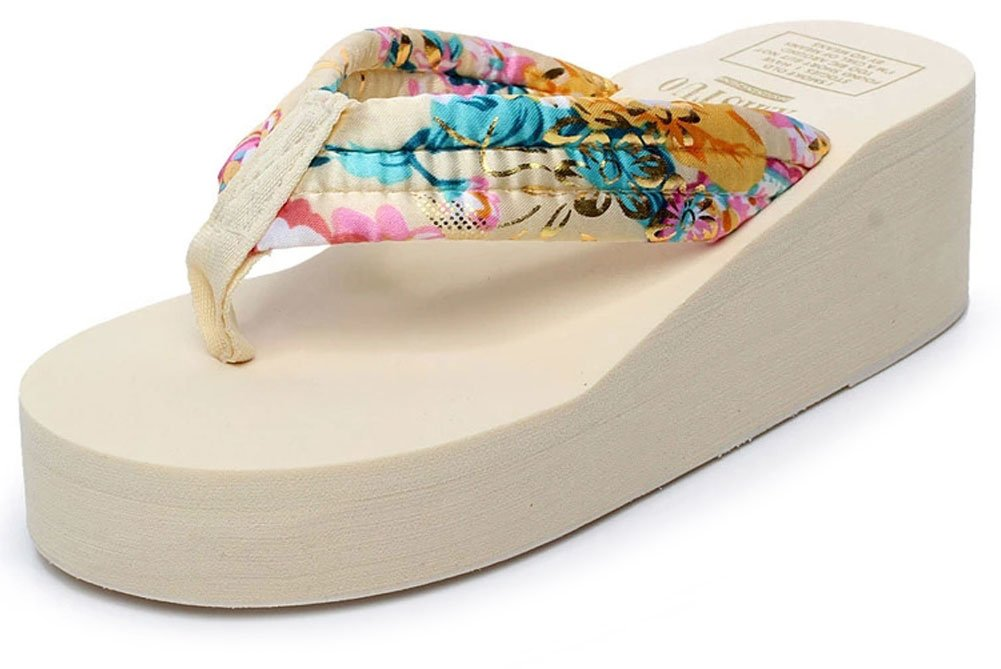 QZUnique Women's Summer Fashion Creative High Heel Flip Flops Gold US 5-5.5