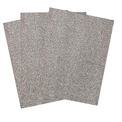 SIMPLY ELEGANT Eva Foam Glitter Sheets w/Adhesive Back - Silver - 24 Count