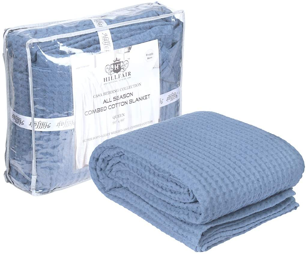 HILLFAIR 100% Combed Cotton Blanket– Queen Size Bed Blanket– Warm Soft All Season Breathable Lightweight Summer Blankets– Waffle Weave Home Decor Bed Blanket- Blue Queen Bed Cotton Blankets/Bedcover