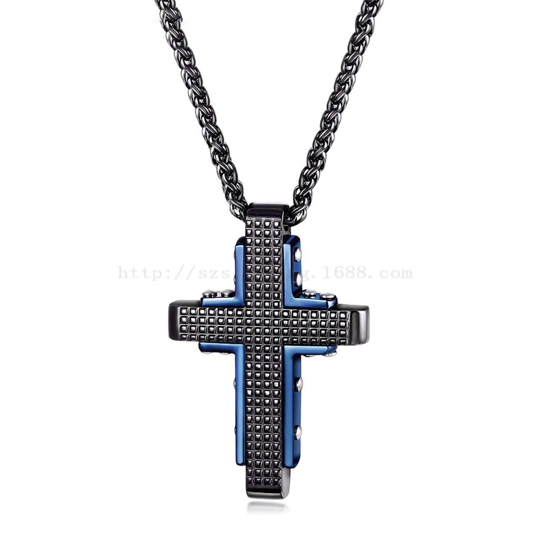 boenkj Necklace for Men Titanium Steel Cross Necklace Mens Hip Hop to Lead The Fashion Trend