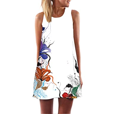 BCVHGD Floral 3D Print Vintage Dress Robe Sexy Vestidos Casual Boho Beach Summer Party Sexy Dress