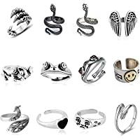 KASTWAVE 12 Pcs Silver Plated Frog Rings Set, Cute Animal Open Rings Pack, Vintage Goth Hippie Matching Rings, Cute and…