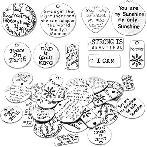 BronaGrand 40pcs Inspiration Words Charms Beads Charm Pendants for DIY Jewelry Necklace Bracelet Antique Silver