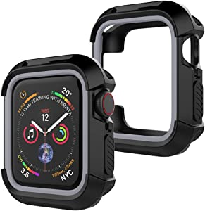 UooMoo Compatible with Apple Watch 4/5 case 40mm, TPU Shockproof Rugged Full-Protective Bumper Cover Replacement for iWatch Apple Watch Seires 4 Series 5 (40mm,Black/Gray)