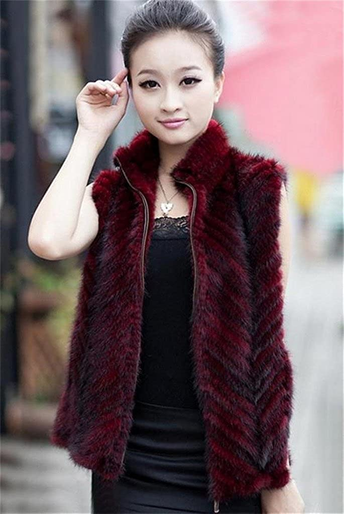 YR.Lover Womens Zipper Opening Natural Mink Fur Vest Jacket with Stand Collor