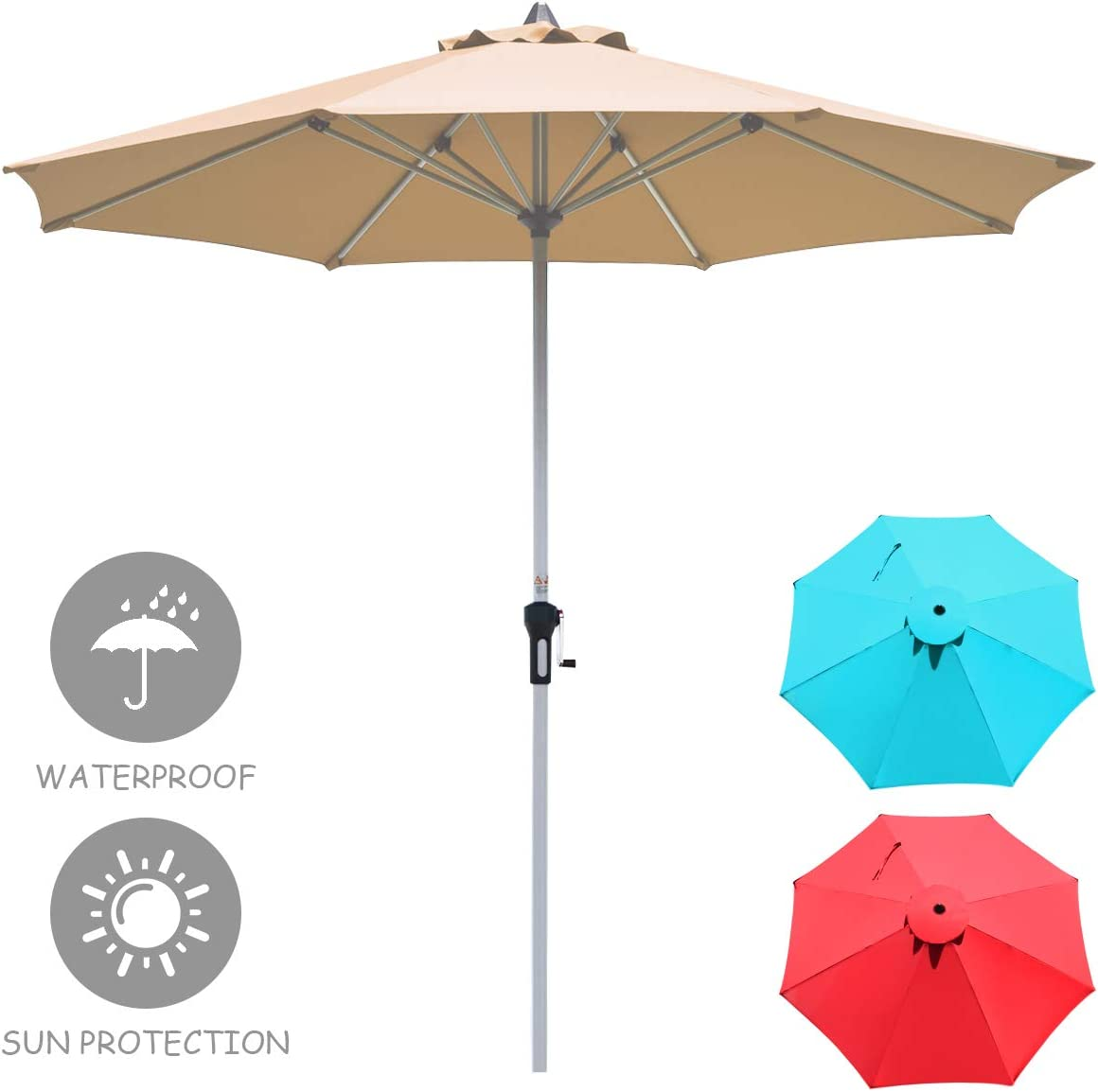 Tangkula 9 ft Patio Umbrella, Outdoor Market Table Umbrella with 1.5 Aluminum Pole, 8 Sturdy Ribs Crank for Garden, Lawn, Deck, Backyard Poolside Beige