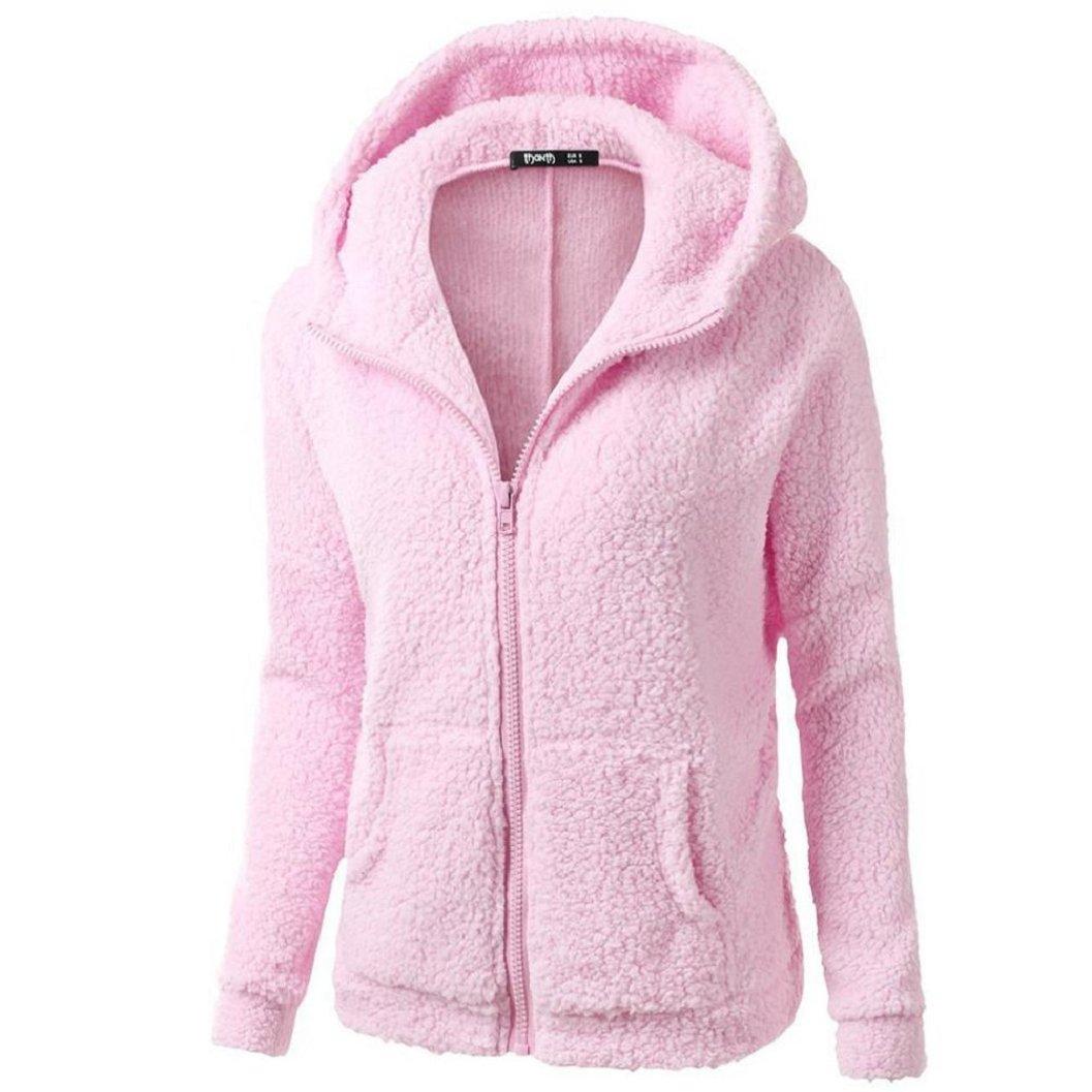 Kinrui Cotton Women Hooded Sweater Coat Winter Warm Wool Zipper Coat Bring You WarmthCotton Coat Outwear (Pink, M)