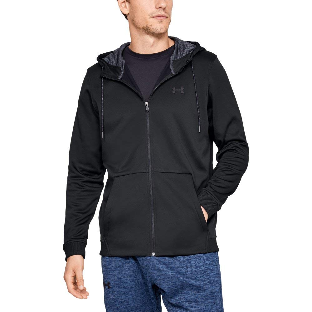 Under Armour Men's Armour Fleece Full Zip Hoodie, Black (001)/Black, Medium
