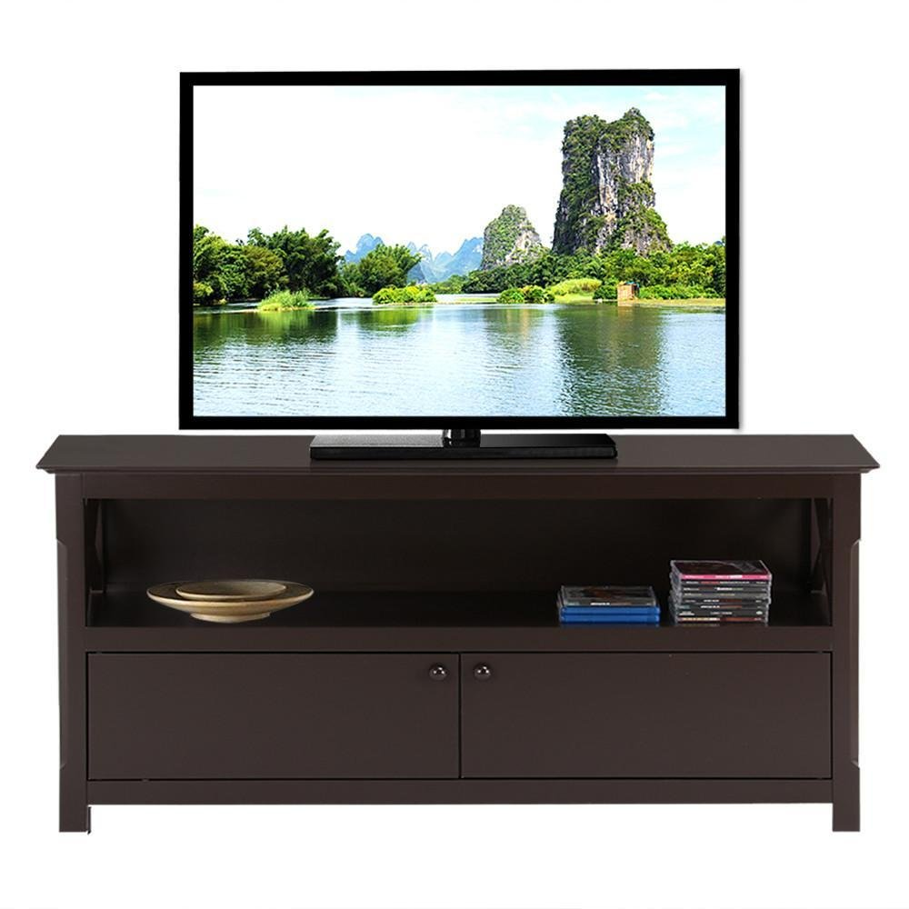 Amazon com yaheetech x design wood tv stand home entertainment center with 2 doors storage console espresso kitchen dining