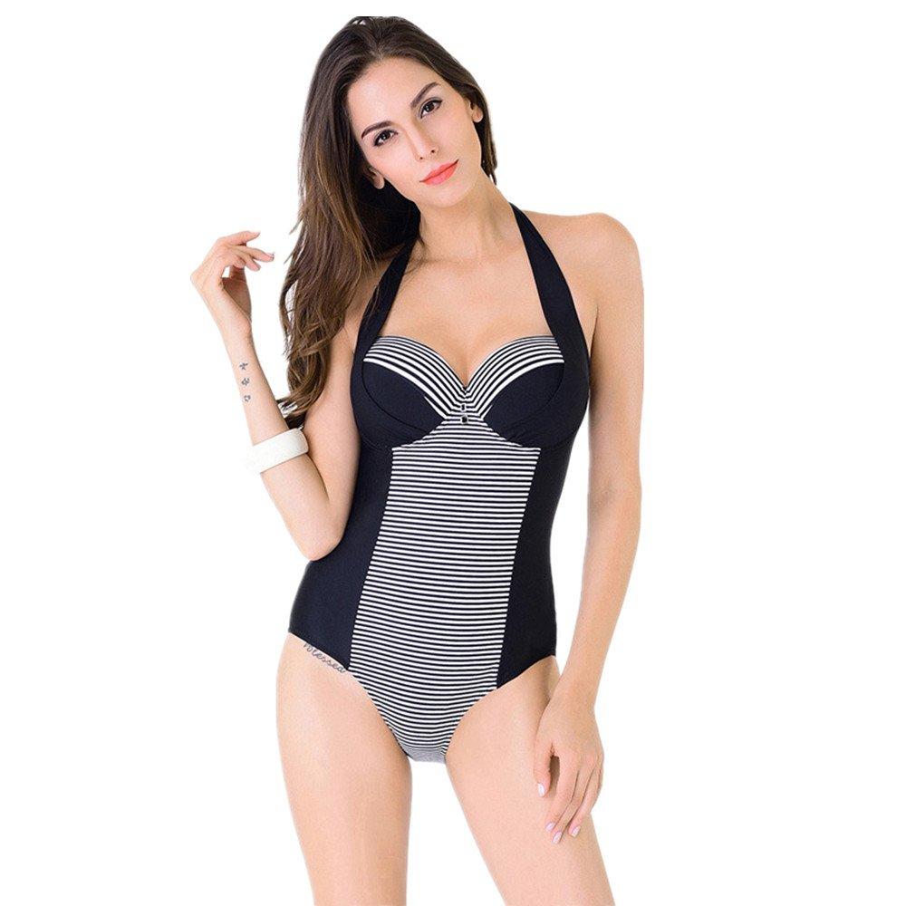 女性の 水着 シャム 水着 エクササイズ ストライプスーツ スパ バケーション水着 に適して 水泳 ウェディング エクササイズ スパ (Color : Black, Size : XXXL) B07DYTLLCZ XXXL|Black