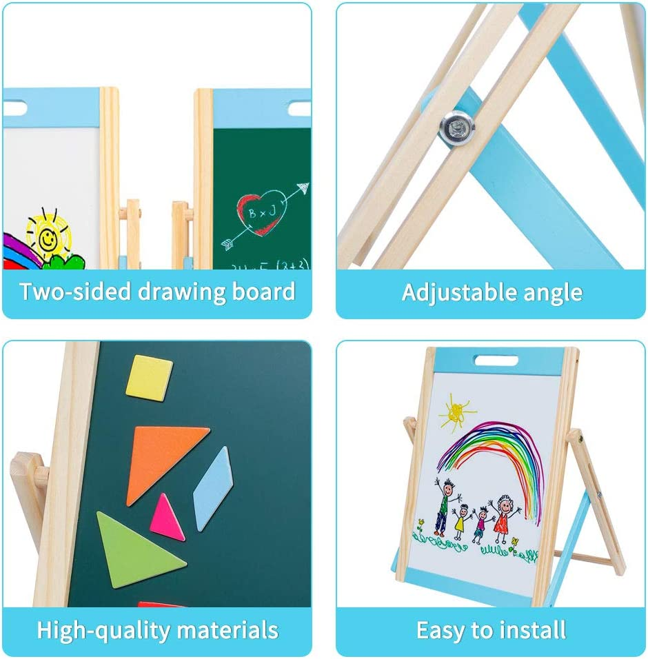 Arkmiido Kids Tabletop Easel Wooden Portable Art Easel For Toddlers Magnetic Chalkboard & Whiteboard Multiple-Use Easel Double Sided With Chalk, Markers, Eraser For Children Age 3+