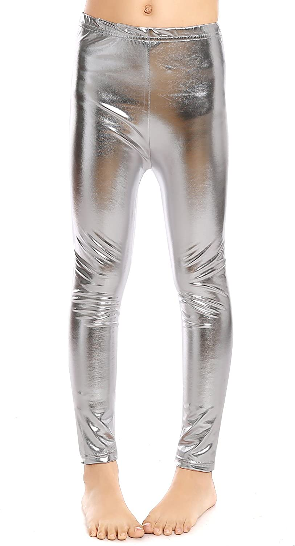 Aaronano Little Girls Metallic Color Shiny Stretch Leggings