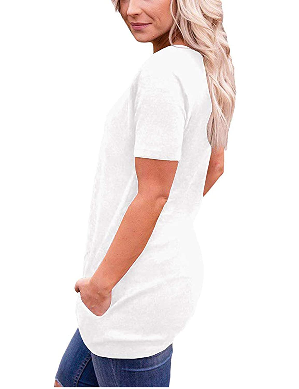 iClosam Damen T-Shirt Sommer Rundhals Tunika Loose Fit Oberteil