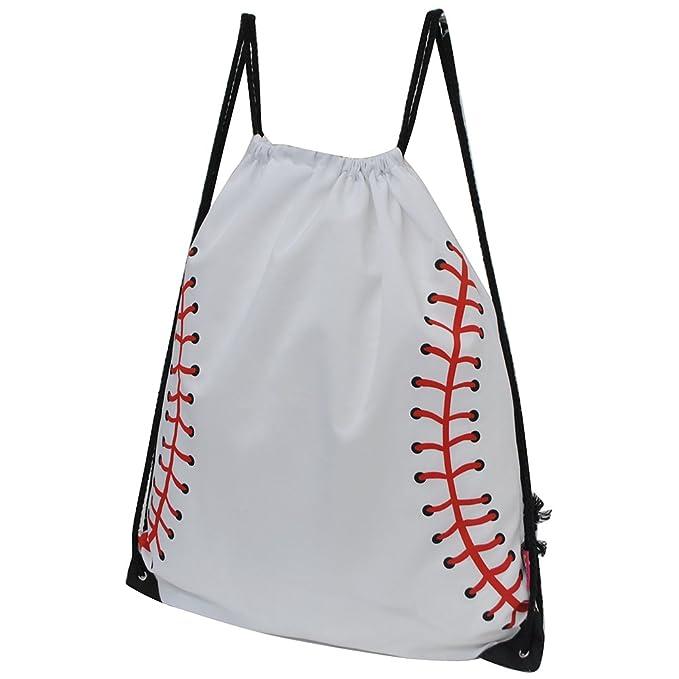 92060d6c8e94 Amazon.com | Baseball White Print NGIL Drawstring pull Backpack ...