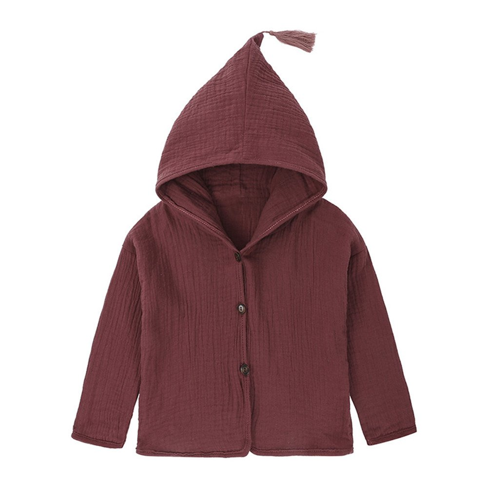 LOOLY Unisex Little Girls Boys Cotton Linen Blend Hooded Jacket Tassel Outwear LOOLYTZ00276