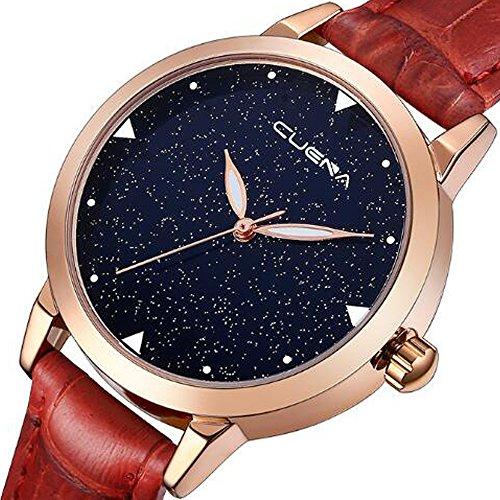 CUENA Women's Dress Wrist Watch, Distinctive Sparkling Starry Sky Dial Leather Band Luxury Quartz Watches Girls Ladies Wristwatch