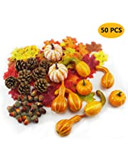 Yibaision Halloween Mini Artificial Pumpkins and Gourds Maple Leaves Pine Cones Acorns Harvest Blend Small Fake Pumpkins Wedding Thanksgiving Fall Harvest Autumn Home Table Decorations