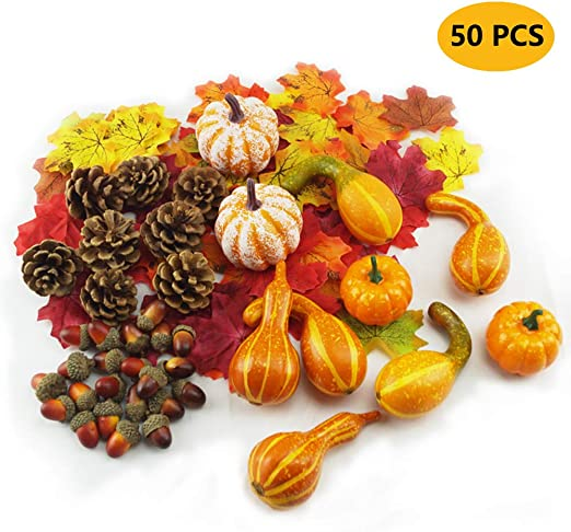 Halloween Artificial Pumpkins Assorted Fake Decorative Pumpkins and Gourds Fake Vegetables Ornaments for Fall Decor Thanksgiving Garden Home Harvest Decorations Crafts 12PCs