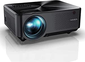Proyector, YABER Mini Portátil Proyector Cine en Casa 5500 Lúmenes Resolución Nativa 1280*720p, Vídeo Proyector con HiFi Altavoces Incorporados, Cubierta de Metal, Soporte HDMI/USB/VGA/AV