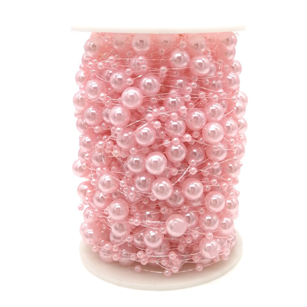 Jing-Rise 100 Feet Pearl Garland Roll of Beads Pearl Beads Chain Beaded Fishing Line Pearl Strands Bead Roll for Wedding Decorations Bridal Bouquet Party Decorations or Crafts(Pink)