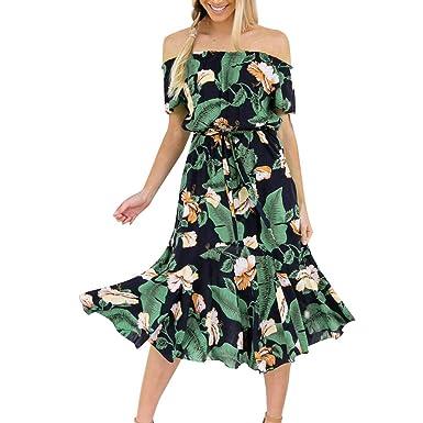 Vestido De Verano Mujer Impresión Midi Vestidos De Playa Elegante ...