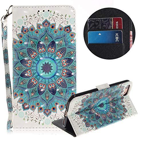 Artistic Painted Leather Wallet Case for iPhone 7,Flip Folio Case for iPhone 8,Moiky Stylish 3D Special Effects Peacock Wreath Pattern Magnetic Soft PU Leather Stand Case Cover