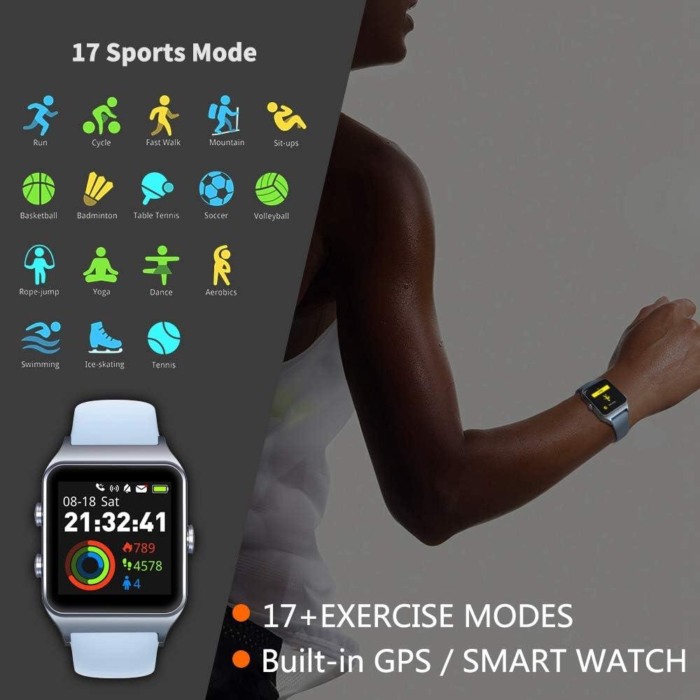 MorePro Montre connectée GPS avec 17 Modes de Sport, Cyclisme, Course à Pied, étanche IP68, Moniteur de fréquence Cardiaque, Montre connectée pour