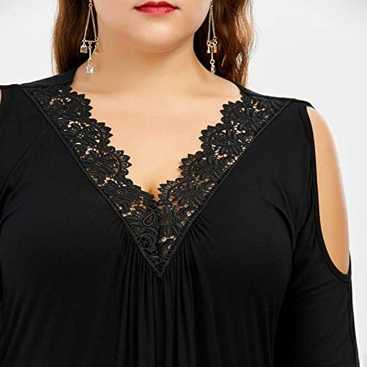 Hot Fashion Womens Plus Size Lace Trim V Neck Cold Shoulder Strapless Tops Loose Blouse YANG-YI Women Tops