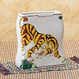 Jpanese traditional ceramic Kutani ware. Ikebana flower vase. Tiger. With wooden box. ktn-K5-1299