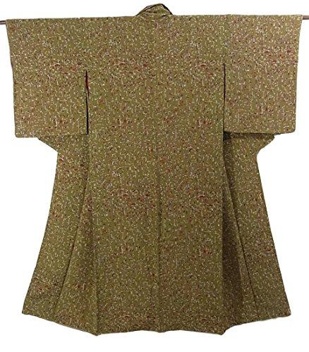 最初は菊シティアンティーク 着物 縮緬 象形文字のような意匠 正絹 袷 裄63cm 身丈140cm