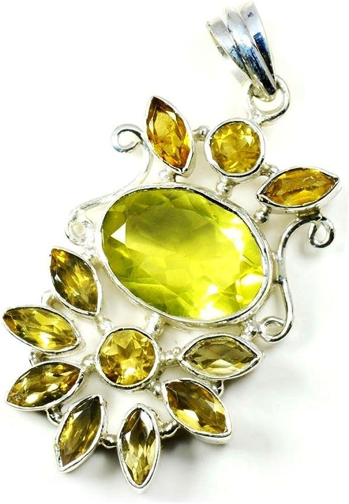 Colgante ovalado de citrino amarillo auténtico de 55 quilates, para hacer joyas de plata de ley 925 con piedra natal