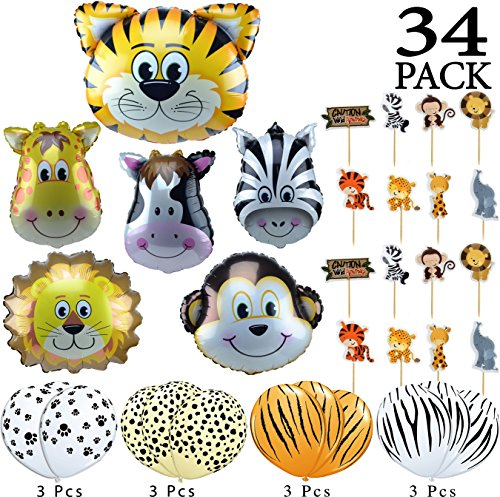 Jungle Animals Foil Latex Balloons Birthday Party Decorations Lion Tiger Monkey Zebra Giraffe Cow SAFARI ZOO Cupcake Toppers Pack of 34 (Safari Party Cake)