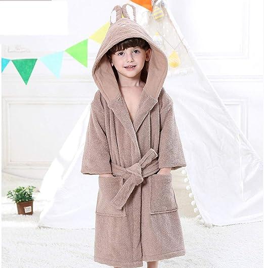 Batas de Baño para Niños y Niñas, con Capucha de Color Sólido ...