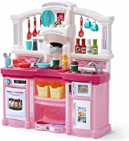 Step2 Fun with Friends Kitchen | Large Plastic Play Kitchen with Realistic Lights & Sounds | Pink Kids Kitchen Playset & 45-P