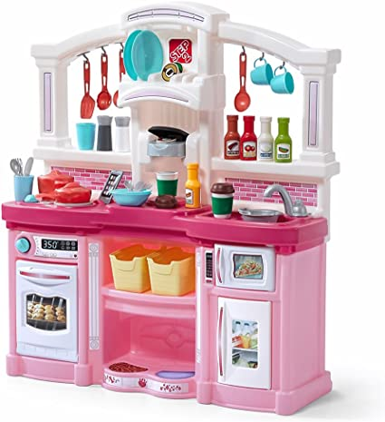 Kids Kitchen Accessories >> Step2 Fun With Friends Kitchen Large Plastic Play Kitchen With Realistic Lights Sounds Pink Kids Kitchen Playset 45 Pc Kitchen Accessories Set