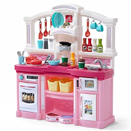 Step2 Fun With Friends Kitchen Large Plastic Play Kitchen With Realistic Lights Sounds Pink Kids Kitchen Playset 45 Pc Kitchen Accessories Set