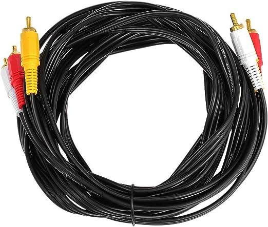 5 Metros De Cable De Audio RCA Chapado En Oro 3 RCA Macho A 3 RCA Cable De Audio Y Video AV para DVD TV Negro: Amazon.es: Electrónica