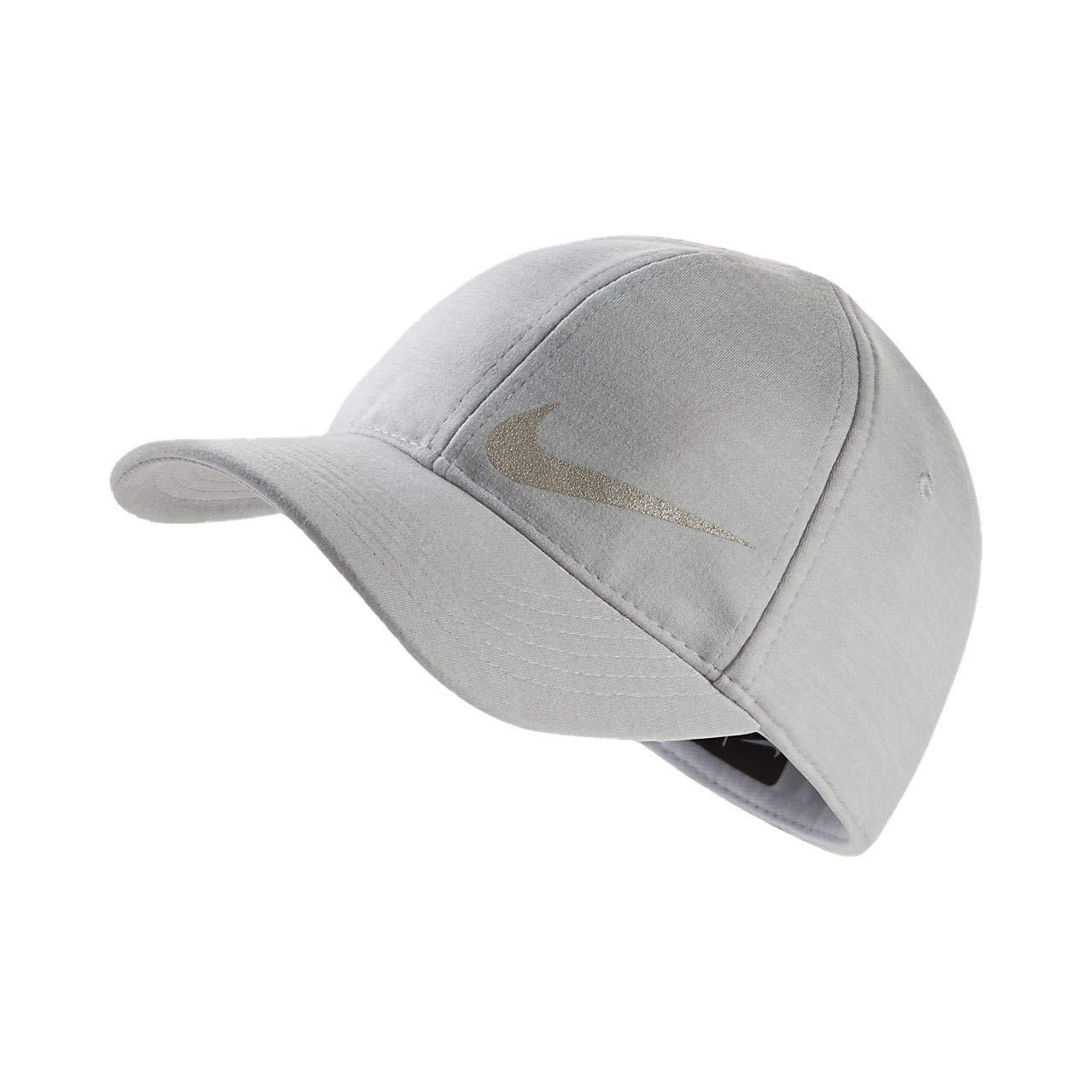 Nike Girl`s Featherlight Dri-Fit Swoosh Ponytail Slit Baseball Cap (2-4T, Pure Platinum(3A2733-K53)/Reflective)