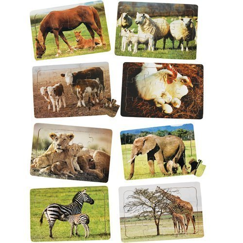 Real Life Mother & Baby Animal Puzzles - Both Sets by Constructive Playthings