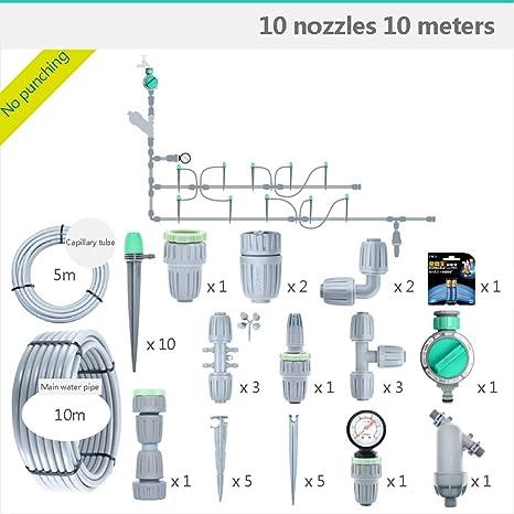 YD-outdoor Sistema automático de riego por Goteo Conjunto del Temporizador de riego automático, 10 boquillas 10 M Espray de riego Manguera de jardín Micro Goteo Kits de riego de jardín: Amazon.es: Deportes