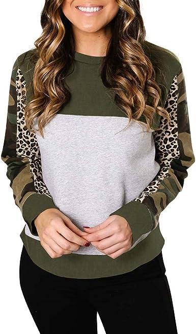 TOPUNDER Casual Leopard Printed Sweatshirt Ladies Long Sleeve Pullover Shirt Top Women