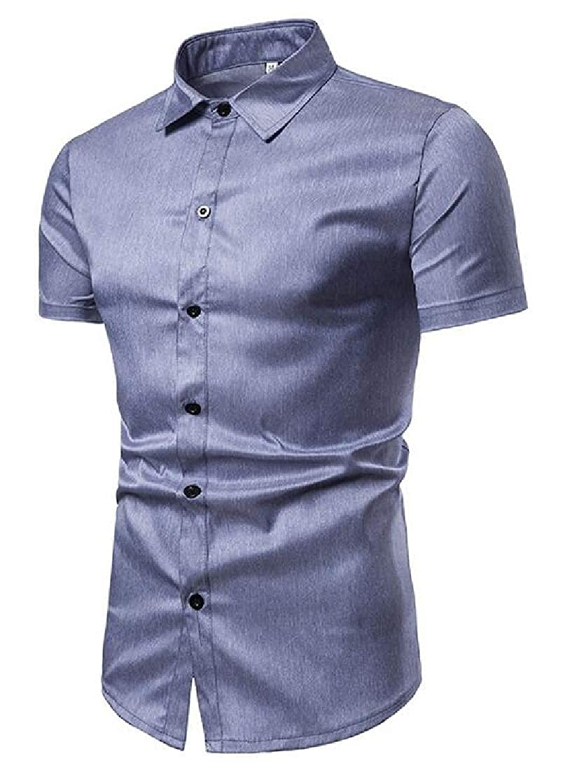 Jofemuho Mens Casual Business Short Sleeve Pure Color Regular Fit Button Down Dress Work Shirt