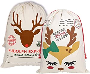 Yookay 2 Pack Christmas Female and Male Reindeer Gift Bags Santa Sack with Drawstring Extra Large Size 27