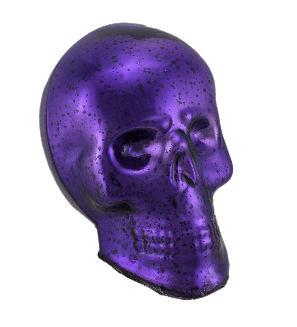 Zeckos Purple Mercury Glass Skull Statue