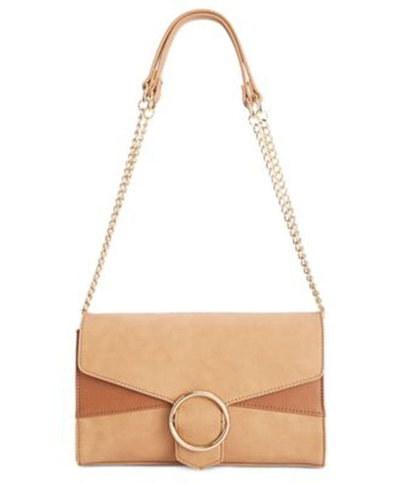 9eb95931da INC Womens Gwen Faux Leather Convertible Crossbody Handbag Tan Small