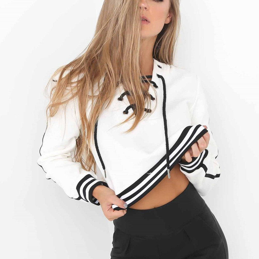 WINWINTOM Women Hoodie Sweatshirt Lace Up Long Sleeve Crop Top Coat Sports Pullover Tops