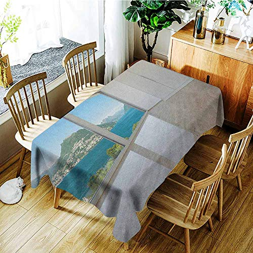 (XXANS Washable Tablecloth,Modern,Interior of Penthouse Empty Living Room Large Windows Sea Mountains View Art,Table Cover for Dining,W50x80L White Blue Beige)
