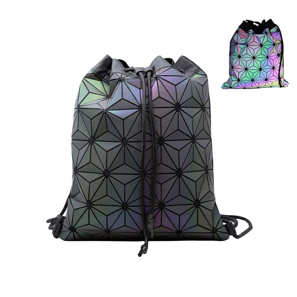 Geometric Lingge Drawstring Gym Bag Waterproof Sports Yoga Backpack Sackpack Gymsack For Men Women Universal Teenager Traveling Rucksack School Daypack For Teens Youth Luminous