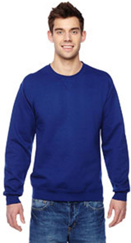 Fruit of the Loom mens 7.2 oz. Sofspun Crewneck Sweatshirt(SF72R)-ADMIRAL BLUE-XL